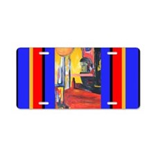 Colorful Arty Painting of Man Aluminum License Pla