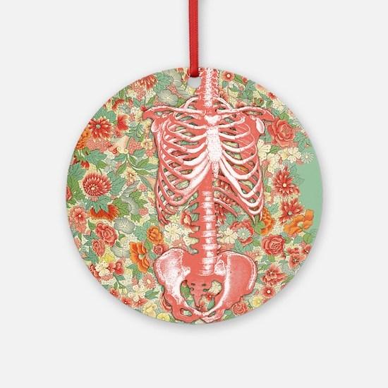 Skeleton Floral Ornament (Round)