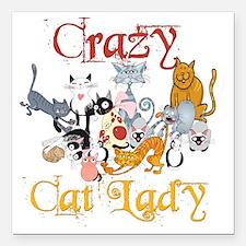 "Crazy Cat Lady Square Car Magnet 3"" x 3"""