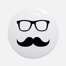 Mustache Glasses Ornament (Round)