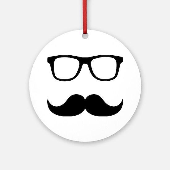 Mustache Glasses Ornament (Round)