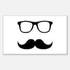 Mustache Glasses Sticker (Rectangle)