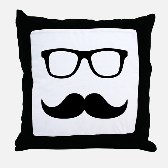 Mustache Glasses Throw Pillow