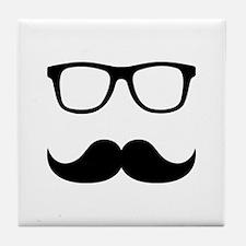 Mustache Glasses Tile Coaster