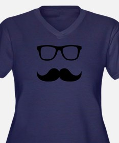 Mustache Glasses Women's Plus Size V-Neck Dark T-S