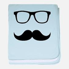 Mustache Glasses baby blanket