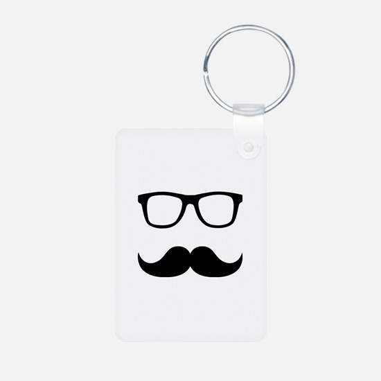 Mustache Glasses Aluminum Photo Keychain