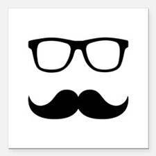 "Mustache Glasses Square Car Magnet 3"" x 3"""