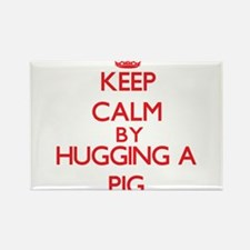 Keep calm by hugging a Pig Magnets