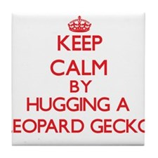 Keep calm by hugging a Leopard Gecko Tile Coaster