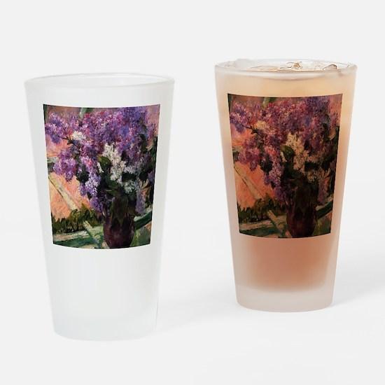 Lilacs in a Window by Mary Cassatt Drinking Glass