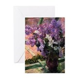 Lilacs in vase Greeting Cards