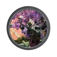 Lilacs in a Window by Mary Cassatt Wall Clock