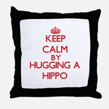Keep calm by hugging a Hippo Throw Pillow