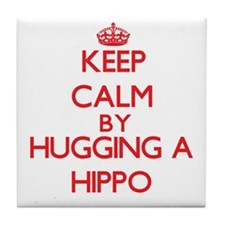 Keep calm by hugging a Hippo Tile Coaster