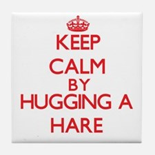 Keep calm by hugging a Hare Tile Coaster