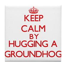 Keep calm by hugging a Groundhog Tile Coaster