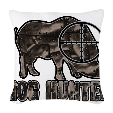 Riveted Metal Feral Hog Hunter Woven Throw Pillow