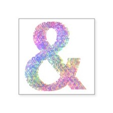 "Rainbow Helvetica Ampersand Square Sticker 3"" x 3"""