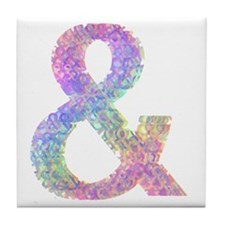 Rainbow Helvetica Ampersand Tile Coaster