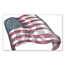 Flying American Flag Rectangle Bumper Stickers