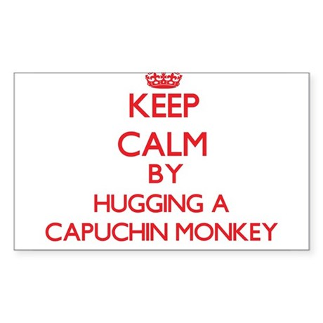 Keep calm by hugging a Capuchin Monkey Sticker
