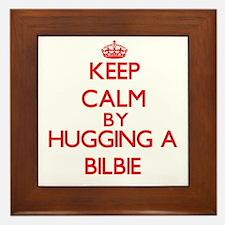 Keep calm by hugging a Bilbie Framed Tile