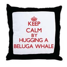 Keep calm by hugging a Beluga Whale Throw Pillow