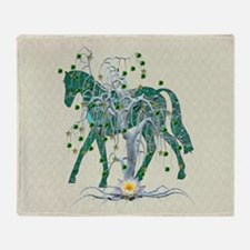 Horse In Winter Forest Throw Blanket