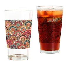 Mid Century Half Circles in Orange Drinking Glass