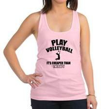 volleyball is my therapy Racerback Tank Top