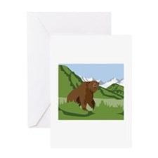 Grizzly Bear Mountains Greeting Cards