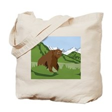 Grizzly Bear Mountains Tote Bag