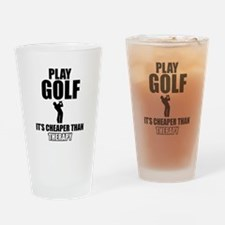 golf is my therapy Drinking Glass