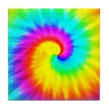 Retro Tie Dye Effect Tile Coaster