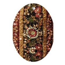 Beaded Indian Saree Photo Ornament (Oval)