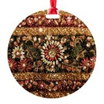Beaded Indian Saree Photo Round Ornament