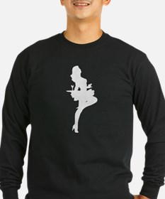 Cocktail Waitress Silhouette Long Sleeve T-Shirt