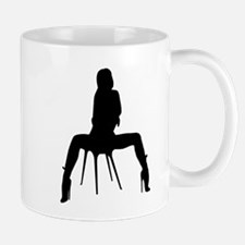 Sexy Woman On Chair Silhouette Mugs
