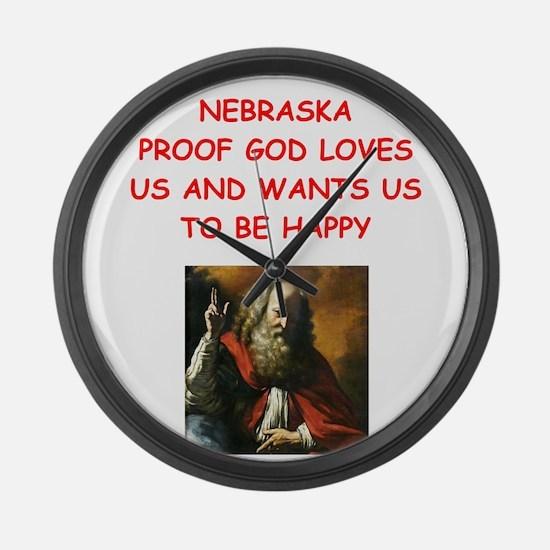 nebraska Large Wall Clock