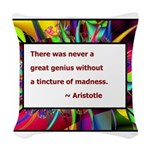 genius and madness aristotle.jpg Woven Throw Pillo