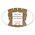 man of one book.jpg Sticker (Oval 50 pk)