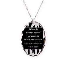in a bookstore.jpg Necklace Oval Charm