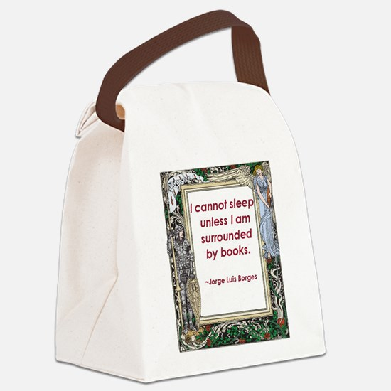surrounded by books.jpg Canvas Lunch Bag