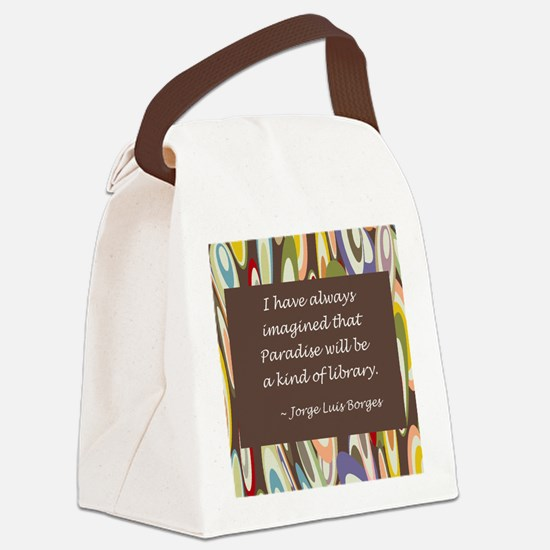 paradise library Borges.jpg Canvas Lunch Bag