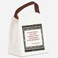 bradbury on books.jpg Canvas Lunch Bag