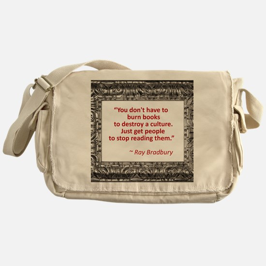 bradbury on books.jpg Messenger Bag