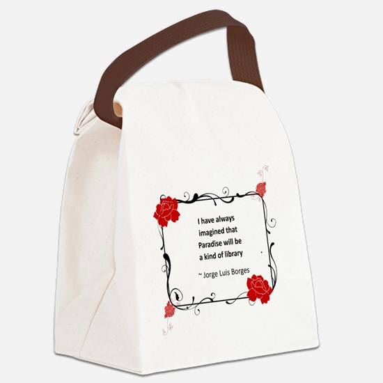 paradise library.jpg Canvas Lunch Bag