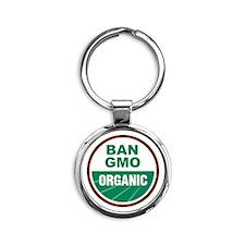 Ban GMO Organic Round Keychain