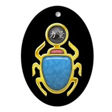 Black Pearl Scarab Oval Ornament